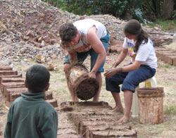 Making bricks in Peru
